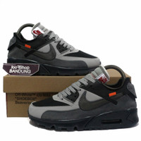 Sepatu Sneakers Nike Air Max 90 X OFF WHITE Wolf Grey Black 40 - 44