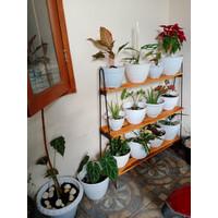 Rak Bunga Kayu Besi Rak Penyiman Pot Tanaman Susun 3 Minimalis Hiasan