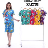 setelan kulot cemara - baju piyama Batik wanita lengan pendek