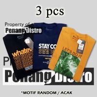 [3 pcs] Baju Kaos Distro Pria / T-shirt Oblong Harian Pria / Kaos Pria