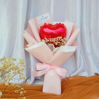 Buket Bunga Baby Breath with Balon Love Pink Bicolor Small