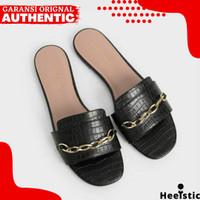Sandal Flat Charles And Keith Wanita Original Branded Store H254 - Black, 35