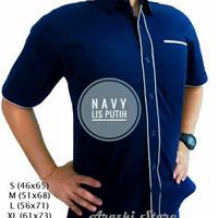 Seragam Kerja Drill Navy Pria Kemeja Kerja Pria Hem Kerja Baju PDH
