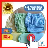 Set Popok Kain Bayi Cuci Ulang Clodi Plus Insert Tebal Celana Lampin - Hijau, S