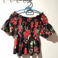 baju sabrina dewasa kerut motif bunga