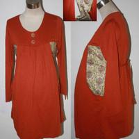 baju atasan hamil menyusui lengan panjang kaos katun oranye batik 1709