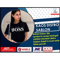Kaos Distro Sablon Polos Yes Boss Wanita Murah Original