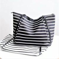 Tas wanita cewek import fashion kampus kantor tote salur garis stripes