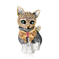 bros kucing pita (grey cat brooch)