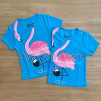 Baju Kaos Atasan Anak Perempuan Cewek Hewan Animal Flamingo Biru