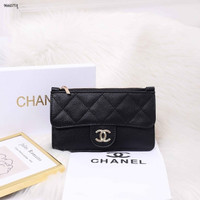 Chanel Lamb Skin Wallet Card Holder 96607 | Dompet Wanita Import - Black