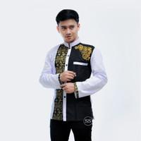 Baju Koko Kombinasi Batik Bordir Lengan Panjang Putih Katun M L XL - GOLD, M