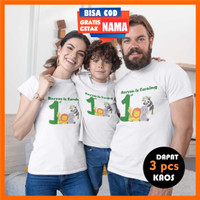Baju Kaos Couple Keluarga Ulang Tahun Anak Animal Binatang Cetak Nama