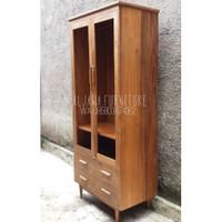 almari pakaian 2 pintu minimalis kayu jati - lemari pakaian murah