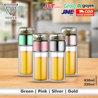teapot infuser portable double wall / tumbler botol air minum teh kaca