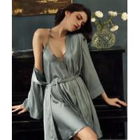 Piyama Wanita Silk Kimono dan Lace Dress Rosie Silk Premium Set