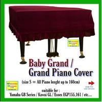 Promo - Baby Grand Piano Cover Penutup Piano Kain Grand Piano (RED)