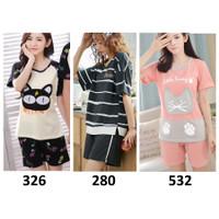 Baju Tidur Wanita - Remaja Dewasa - Lengan Pendek Celana Pendek