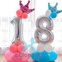 Balonasia Set angka crown prince/princess mini - Princess(Pink), 1