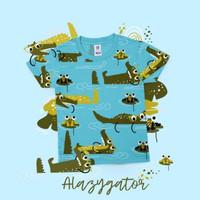 Owell Alazyator Printed TShirt - Kaos Anak Gambar Binatang Full Print - Biru, L (6-7Y)