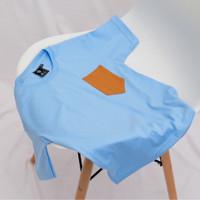 Little Pep Almond Pocket Basic TShirt-Baju Kaos Couple Keluarga Polos - Sky Blue, 8-9Y