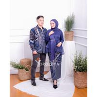 Batik Couple Kebaya Modern, Kebaya Tunangan Lamaran, Kebaya Warna Navy - SET COUPLE, M