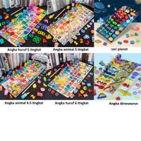 Mainan puzzle montessori, Papan puzzle pancing mencocokkan anak