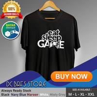 Baju Kaos Tshirt Distro Keren Premium Gaming Gamers Eat Sleep Game - Putih, M