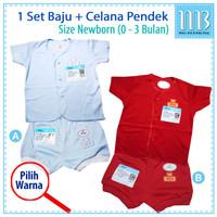 MIYO - Setelan Baju Bayi Celana Pendek Polos Warna newborn 0 - 3 Bulan