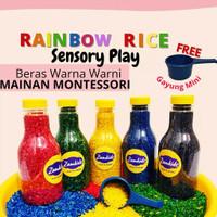 MAINAN MONTESSORI MONTESORI EDUKASI ANAK RAINBOW RICE SENSORY PLAY