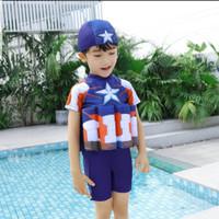 BAJU RENANG ANAK DENGAN PELAMPUNG LAKI LAKI TOPI - Captain America, XL