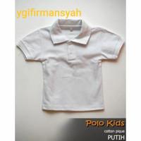 Polo Shirt Kerah katun Anak Polos Putih