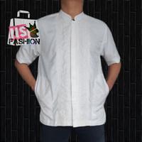 Baju Koko Pria Muslim Size M L XL Lengan Pendek Semi Sutra Putih Amran - Putih, XL