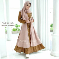 Set Baju Gamis + Jilbab BIEBE Terbaru Dress Modis Remaja Kekinian