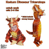 Kostum Dinosaur Triceratops / Costume Dinosaurus Red Triceratops - Size XS