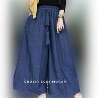 Celana Kulot Jumbo wanita Berbahan Jeans Tebal dan Adem Black Navy