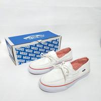 sepatu wanita vans zapato white red bahan kanvas premium. sneakers cw