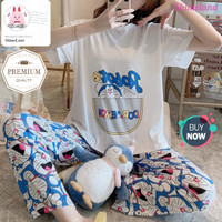 Piyama Set Wanita Tangan Pendek Doraemon Baju Tidur Celana Panjang