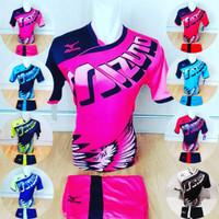 Baju Volly Jersey Olahraga Futsal Kaos Bola Setelan Voli Mizuno 26 S - Hitam Merah, M