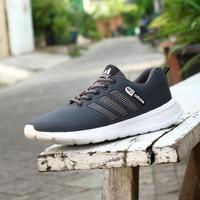 Sepatu Sport Big Size Jumbo Adidas Neo Abu Hitam Olahraga Santai