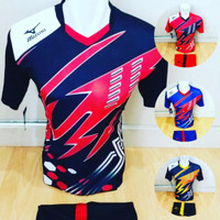 Baju Volly Jersey Futsal Kaos Bola Setelan Olahraga Voli Hitam Merah - Hitam Merah, M