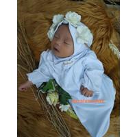 gamis bayi perempuan newborn aqiqah baju muslim anak bayi set hijab