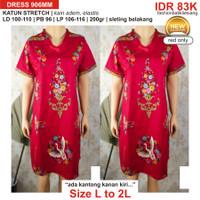 XXL-2XL-2L 906MM dress batik wanita katun stretch red merah imlek