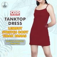 TENKTOP DRESS / TENTOP WANITA / TANKTOP TALI KECIL POLOS - TANK TOP - M, Hitam