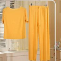 Piyama Import wanita Pleat ice silk kulot Daily wear Baju tidur set