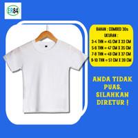 Atasan Tshirt Baju Kaos Polos Anak Tangan Lengan Pendek Putih - 3-4 tahun