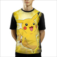 Baju Kaos Anak Laki-Laki Dan Perempuan Pokemon Pikachu Neon