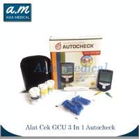 Alat Autochek GCU 3 In 1 Alat Tes Gula Darah,Kolesterol dan Asam Urat