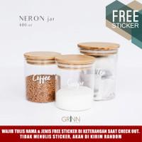 Grinn living Neron glass Bamboo jar 450 ml/ toples bambu /tempat bumbu