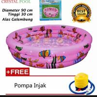 Kolam Renang Anak Ukuran 90cm Bulat Motif Ikan Ada Warna Biru & Pink